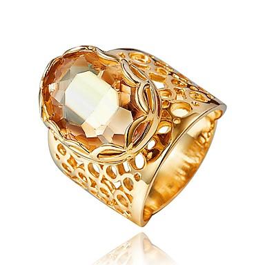 olcso Divat gyűrűk-Női Gyűrű Kocka cirkónia 1db Arany 18 karátos futtatott arany Ázsiai Divat Parti Eljegyzés Ékszerek Kivágott Kézműves