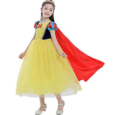 Princeza Cosplay Nošnje Plašt Cvjetna djevojka haljina Dječji Djevojčice Line-Slip Halloween Božić Halloween Karneval Festival / Praznik Til Pamuk Bijela Karneval kostime Princeza / Haljina / Haljina