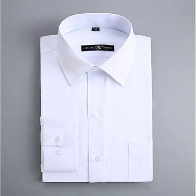 رخيصةأون قمصان رجالي-رجالي عمل الأعمال التجارية / أساسي قطن قميص, لون سادة ياقة مفرودة نحيل / كم طويل / الربيع / الخريف
