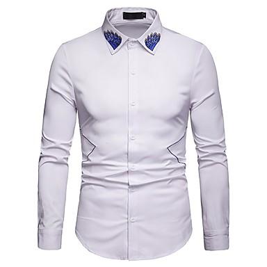 Majica Muškarci - Osnovni Dnevno Pamuk Cvjetni print / Color block Vezeno Obala / Dugih rukava