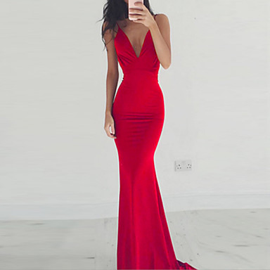 cheap Prom Dresses-Women's Trumpet / Mermaid Dress Maxi long Dress - Sleeveless Solid Colored Backless Deep V Spring Summer Deep V Sexy Party Cocktail Party Prom Wine Black Red S M L XL