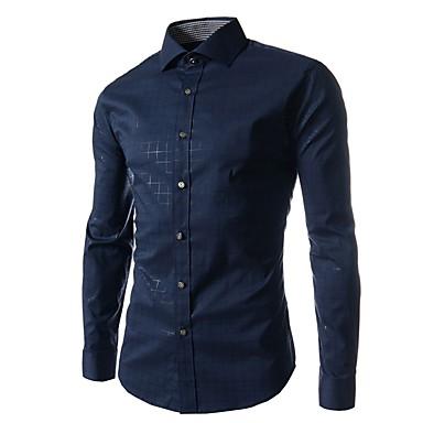 رخيصةأون قمصان رجالي-رجالي عمل الأعمال التجارية / أساسي طباعة قياس كبير - قطن قميص, لون سادة / شيك ياقة كلاسيكية نحيل / كم طويل / الخريف