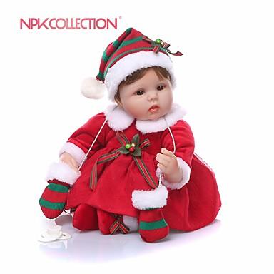 olcso babák-NPKCOLLECTION NPK DOLL Reborn Dolls Lány Doll Lány babák 18 hüvelyk Ajándék Bájos Mesterséges beültetés barna szemek Gyerek Lány Játékok Ajándék