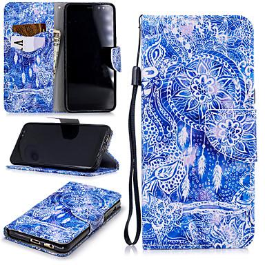 Недорогие Чехлы и кейсы для Galaxy А-Кейс для Назначение SSamsung Galaxy A8 2018 Кошелек / Бумажник для карт / Защита от удара Чехол Ловец снов Твердый Кожа PU