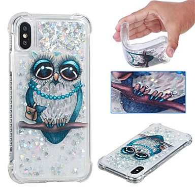 "economico Custodie per iPhone 6 Plus-Custodia Per Apple iPhone XS / iPhone XR / iPhone XS Max Resistente agli urti / Liquido a cascata / Transparente Per retro Fantasia ""Gufo"" / Glitterato Morbido TPU"