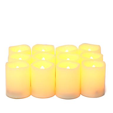 set od 12 treperenja flameless vodio votive / tealights svijeće za kuhinju dekor vjenčanja ukras za on / off samo baterije uklj.
