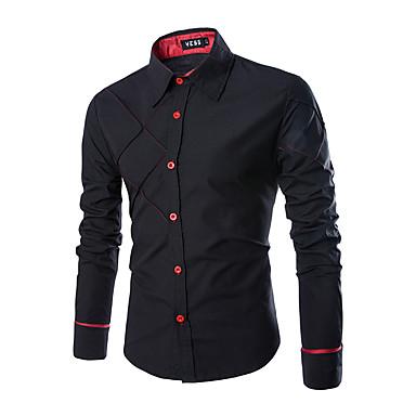 رخيصةأون قمصان رجالي-رجالي عمل الأعمال التجارية قميص, لون سادة ياقة مفرودة / كم طويل / الربيع / الخريف