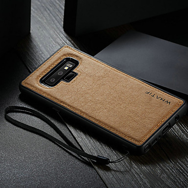 Недорогие Чехлы и кейсы для Galaxy Note-Кейс для Назначение SSamsung Galaxy Note 9 Водонепроницаемый / Защита от удара / Своими руками Кейс на заднюю панель Однотонный Твердый Кожа PU