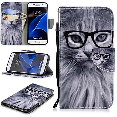 غطاء من أجل Samsung Galaxy S7 محفظة / حامل البطاقات / ضد الصدمات غطاء كامل للجسم قطة قاسي جلد PU