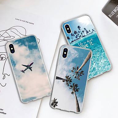voordelige iPhone 6 Plus hoesjes-hoesje Voor Apple iPhone XS / iPhone XR / iPhone XS Max Patroon Achterkant Planten / Uitzicht op de stad Zacht TPU