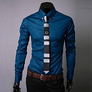 رخيصةأون قمصان رجالي-رجالي عمل الأعمال التجارية / أساسي قياس كبير / مقاس أوروبي / أمريكي - قطن قميص, لون سادة / منقوش ياقة كلاسيكية نحيل / كم طويل / الخريف