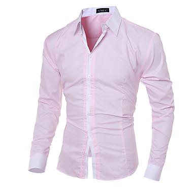 رخيصةأون قمصان رجالي-رجالي عمل الأعمال التجارية / أساسي قطن قميص, لون سادة ياقة كلاسيكية نحيل / كم طويل / الخريف