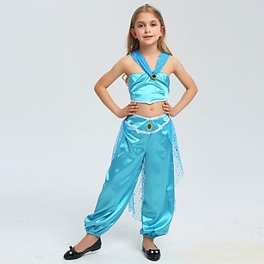 Aladdin Princess Jasmine Cosplay Nošnje Cvjetna djevojka haljina Dječji Djevojčice Halloween Božić Halloween Karneval Festival / Praznik Polyster Plava Karneval kostime Princeza / 1. Nakit za kosu