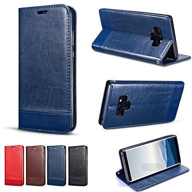 Недорогие Чехлы и кейсы для Galaxy Note-Кейс для Назначение SSamsung Galaxy Note 9 / Note 8 / Note 5 Кошелек / Бумажник для карт / со стендом Чехол Однотонный Твердый Кожа PU