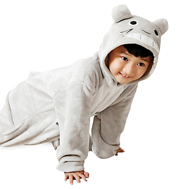 Barn Kigurumi-pyjamas Katt Totoro Onesie-pyjamas Flanell Grå Cosplay För  Pojkar och flickor Pyjamas med djur Tecknad serie Festival   högtid  Kostymer ... 7c7f0fbca441c
