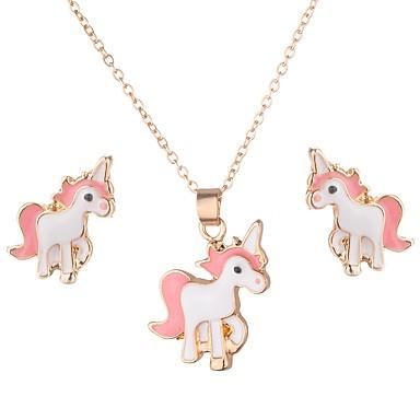 رخيصةأون أطقم المجوهرات-نسائي أقراط الزر عقد كلاسيكي حصان موضة لطيف الأقراط مجوهرات ذهبي من أجل مناسب للبس اليومي شارع 1SET