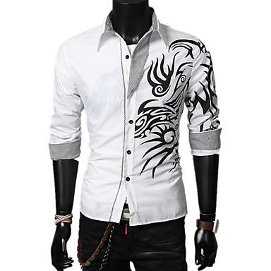povoljno Muške košulje-Muškarci Geometrijski oblici Color block Majica - Pamuk Osnovni Dnevno Obala / Crn / purpurna boja / Red / Dugih rukava