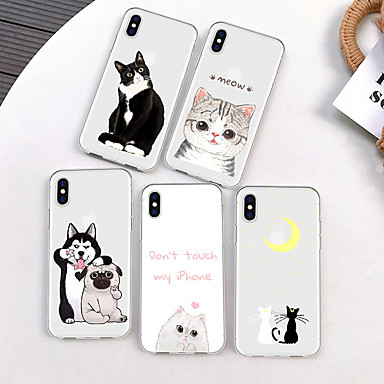 voordelige iPhone-hoesjes-hoesje Voor Apple iPhone XS / iPhone XR / iPhone XS Max Patroon Achterkant Kat / Hond / Cartoon Zacht TPU