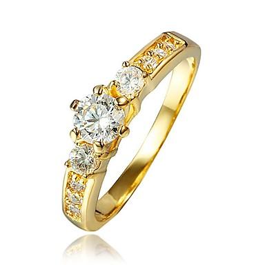olcso Divat gyűrűk-Női Gyűrű Kocka cirkónia 1db Arany 18 karátos futtatott arany Divat Parti Eljegyzés Ékszerek Klasszikus
