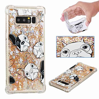 voordelige Galaxy Note-serie hoesjes / covers-hoesje Voor Samsung Galaxy Note 9 / Note 8 Schokbestendig / Stromende vloeistof / Transparant Achterkant Hond / Glitterglans Zacht TPU