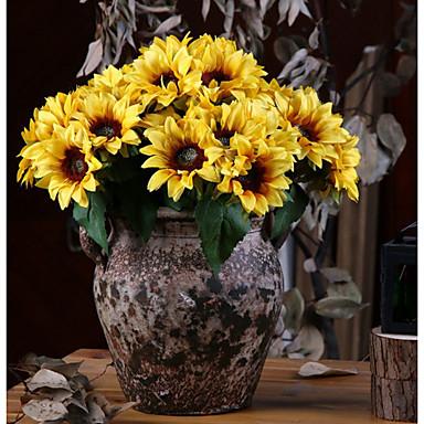 زهور اصطناعية 6 فرع كلاسيكي زهري النمط الرعوي عباد الشمس أزهار الطاولة