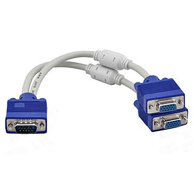 olcso VGA-1-től 2-ig vga svga monitor y osztó kábel 15pin hím női tft lcd