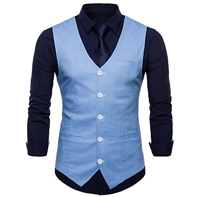 رجالي أصفر نبيذ أزرق فاتح XXL XXXL XXXXL Vest قياس كبير الأعمال التجارية لون سادة V رقبة نحيل / بدون كم / الربيع / الخريف / عمل