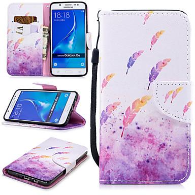 voordelige Galaxy J-serie hoesjes / covers-hoesje Voor Samsung Galaxy J5 (2016) Portemonnee / Kaarthouder / Schokbestendig Volledig hoesje Veren Hard PU-nahka