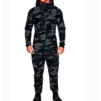 رخيصةأون كنزات هودي رجالي-هوديي / Activewear مجموعة رجالي مموه أساسي