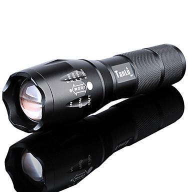رخيصةأون مصابيح اليد-LED Flashlights ضد الماء قابلة لإعادة الشحن 3000 lm LED LED بواعث 5 إضاءة الوضع مع البطارية والشاحن ضد الماء زوومابلي قابلة لإعادة الشحن Adjustable Focus ضوء سوبر عالية الطاقة Camping / Hiking