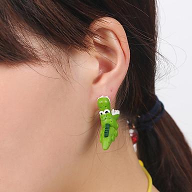 رخيصةأون أقراط-نسائي أقراط الزر أقراط قطرة حلقات حيوان Monster لطيف للأطفال الأقراط مجوهرات أخضر من أجل مناسب للبس اليومي مواعدة 1 زوج