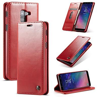 voordelige Galaxy A7 hoesjes / covers-hoesje Voor Samsung Galaxy A6 (2018) / Galaxy A7(2018) / A8 2018 Portemonnee / Kaarthouder / Schokbestendig Volledig hoesje Effen Hard PU-nahka