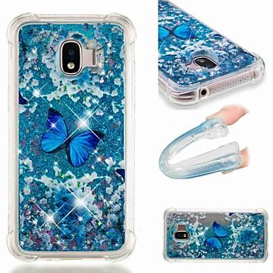 voordelige Galaxy J-serie hoesjes / covers-hoesje Voor Samsung Galaxy J8 (2018) / J7 (2017) / J7 (2018) Schokbestendig / Stromende vloeistof / Transparant Achterkant Vlinder / Glitterglans Zacht TPU