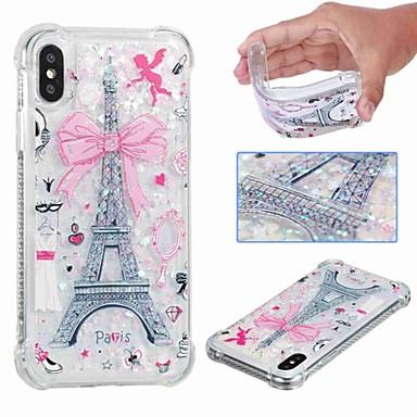 voordelige iPhone-hoesjes-hoesje Voor Apple iPhone XS / iPhone XR / iPhone XS Max Schokbestendig / Stromende vloeistof / Transparant Achterkant Eiffeltoren / Glitterglans Zacht TPU
