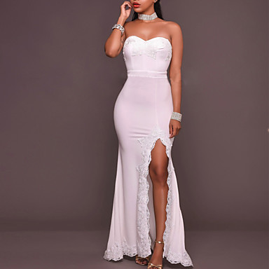 cheap Prom Dresses-Women's Maxi Sheath Dress - Sleeveless Solid Colored Lace Split Spring Summer Strapless Cocktail Party Prom Slim White S M L XL / Sexy