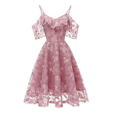 cheap Vintage Dresses-Women's Swing Dress - Sleeveless Strap Party Daily Kentucky Derby Wine Blue Blushing Pink Lavender S M L XL XXL / Sexy