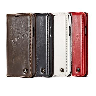 Недорогие Чехлы и кейсы для Galaxy Note-Кейс для Назначение SSamsung Galaxy Note 9 / Note 8 / Note 5 Кошелек / Бумажник для карт / со стендом Чехол Однотонный / Плитка Твердый Кожа PU
