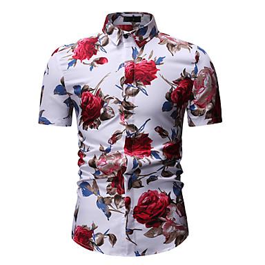 povoljno Muške košulje-Majica Muškarci Cvjetni print Klasični ovratnik Print Obala / Kratkih rukava