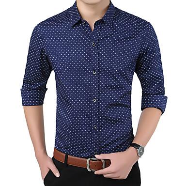 رخيصةأون قمصان رجالي-رجالي عمل الأعمال التجارية / أساسي قميص, منقط ياقة مفرودة / كم طويل / الربيع / الخريف