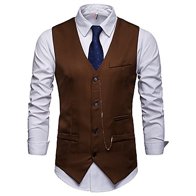 ieftine Blazer & Costume de Bărbați-Bărbați Muncă Afacere Toamnă / Iarnă Regular Γιλέκο, Mată În V Fără manșon Acrilic / Poliester Alb / Negru / Roșu Vin / Zvelt