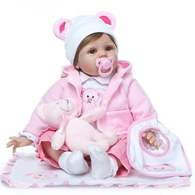 olcso babák-NPKCOLLECTION NPK DOLL Reborn Dolls Lány Doll Lány babák 24 hüvelyk élethű Ajándék Mesterséges beültetés barna szemek Gyerek Lány Játékok Ajándék