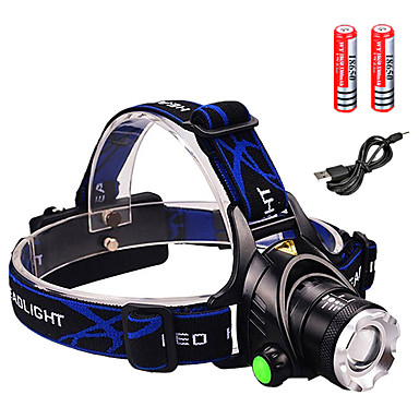 cheap Headlamps-Headlamps Headlight Waterproof Zoomable 1600 lm LED LED Emitters 3 Mode with Batteries and Charger Waterproof Zoomable Rechargeable Adjustable Focus Impact Resistant Strike Bezel Camping / Hiking