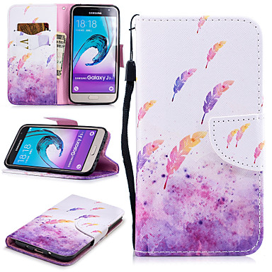 voordelige Galaxy J-serie hoesjes / covers-hoesje Voor Samsung Galaxy J3 (2016) Portemonnee / Kaarthouder / Schokbestendig Volledig hoesje Veren Hard PU-nahka
