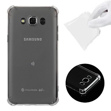 olcso Galaxy J tokok-Case Kompatibilitás Samsung Galaxy J7 (2016) Ütésálló / Átlátszó Fekete tok Egyszínű Puha TPU