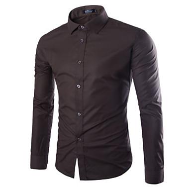 رخيصةأون قمصان رجالي-رجالي أساسي قميص, لون سادة / كم طويل