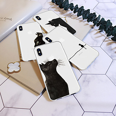 voordelige iPhone 5 hoesjes-hoesje Voor Apple iPhone XS / iPhone XR / iPhone XS Max Patroon Achterkant Kat / dier / Cartoon Zacht TPU