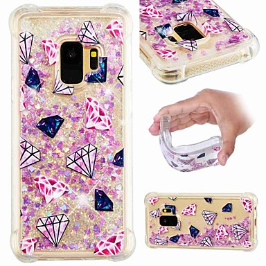 cheap Galaxy S6 Edge Cases / Covers-Case For Samsung Galaxy S9 / S9 Plus / S8 Plus Shockproof / Flowing Liquid / Transparent Back Cover Scenery / Glitter Shine Soft TPU