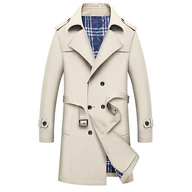 رجالي أزرق البحرية أخضر داكن كاكي XXL XXXL XXXXL معطف طويلة أناقة الشارع لون سادة / كم طويل