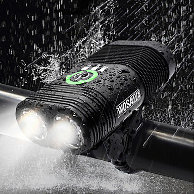 ثنائي ليد اضواء الدراجة ضوء الدراجة الأمامي مصابيح الدراجة مصباح يدوي الدراجة ركوب الدراجة ضد الماء قابلة لإعادة الشحن وسائط متعددة سطوع رائع USB 2400 lm قابلة لإعادة الشحن USB أبيض أخضر - WOSAWE