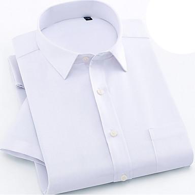 رخيصةأون قمصان رجالي-رجالي أساسي قياس كبير قميص, لون سادة / كم قصير